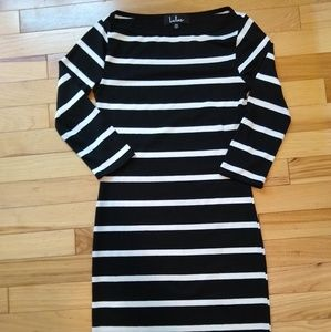 Lulu's Black & White Striped Bodycon Dress XS
